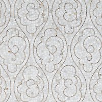 Tatewaku, a natural stone hand cut mosaic shown in Calacatta Tia and polished Gascogne Blue, is part of the Silk Road Collection by Sara Baldwin for New Ravenna Mosaics. <br />
