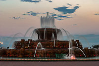 Buckingham Fountain's color light show starts around sundown throught the summer months on Chicago's Lakefront in Grant Park.  Chicago, Illinois