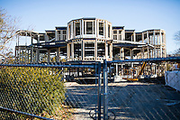 New construction at 236 Coggeshall Avenue in Newport, Rhode Island, has angered residents because it doesn't fit with other large homes in the area. The new building, which will have a flat roof and multi-faceted facade, is seen here on Sat., Dec. 3, 2016.