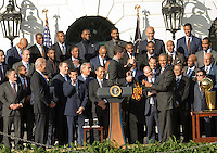 Washington DC, November 10, 2016, USA: President Barack Obama welcomes the 2015 NBA Champions Cleveland Cavaliers on the South Lawn of the White House.  Patsy Lynch/MediaPunch
