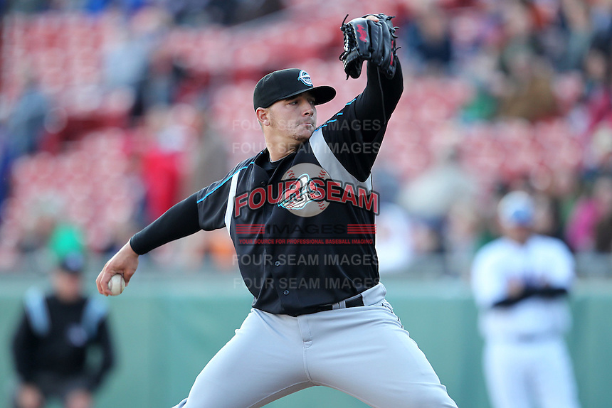 Syracuse Chiefs pitcher Cole Kimball #45 delivers a pitch during a game against the Buffalo Bisons at Dunn Tire Park on April 7, 2011 in Buffalo, New York.  Syracuse defeated Buffalo 8-5.  Photo By Mike Janes/Four Seam Images