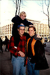 "One Life To Live Tyler Noyes ""CJ Roberts"" poses with Nathan Fillion  & Jack Armstrong ""Joey & Kevin Buchanan"" at the OLTL studio in 1995.  (Photo by Sue Coflin/Max Photos)"