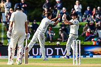 Neil Wagner celebrates Trent Boult of the Black Caps wicket of James Vince of England during Day 3 of the Second International Cricket Test match, New Zealand V England, Hagley Oval, Christchurch, New Zealand, 1st April 2018.Copyright photo: John Davidson / www.photosport.nz