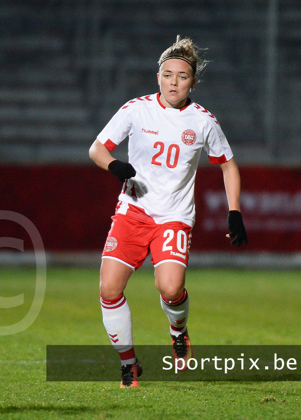20161128 - TUBIZE ,  BELGIUM : Danish Nanna Chtistiansen pictured during the female soccer game between the Belgian Red Flames and Denmark , a friendly game before the European Championship in The Netherlands 2017  , Monday 28 th November 2016 at Stade Leburton in Tubize , Belgium. PHOTO SPORTPIX.BE | DIRK VUYLSTEKE
