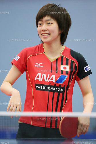 Kasumi Ishikawa (JPN), APRIL 26, 2013 - Table Tennis :  Japan national team training session for World Table Tennis Championships 2013 at Ajinomoto National Training Center, Tokyo, Japan. (Photo by Yusuke Nakanishi/AFLO SORT) [1090]