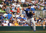 L.A. Dodgers' Rob Segedin makes a play in a spring training game in Glendale, Ariz., on Saturday, March 19, 2016. <br />