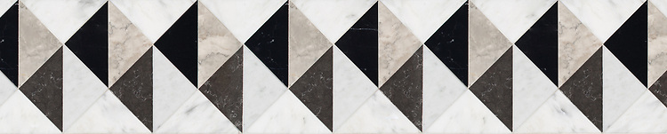 """8 1/16"""" Arubus border, a hand-cut stone mosaic, shown in polished Soccoro Grey, Nero Marquina, Carrara, and honed Cavern, is part of the Palazzo™ collection by New Ravenna."""