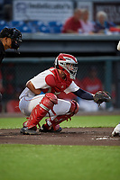 Auburn Doubledays catcher Andrew Pratt (33) during a NY-Penn League game against the West Virginia Black Bears on August 23, 2019 at Falcon Park in Auburn, New York.  West Virginia defeated Auburn 6-5, the second game of a doubleheader.  (Mike Janes/Four Seam Images)