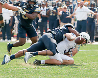 Pitt defensive lineman Rori Blair sacks Penn State quarterback Trace McSorley. The Pitt Panthers defeated the Penn State Nittany Lions 42-39 at Heinz Field, Pittsburgh, Pennsylvania on September 10, 2016.