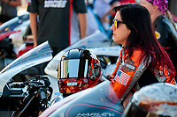 Oct 20, 2019; Ennis, TX, USA; NHRA pro stock motorcycle rider Angelle Sampey during the Fall Nationals at the Texas Motorplex. Mandatory Credit: Mark J. Rebilas-USA TODAY Sports