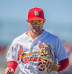 4 March 2013: St. Louis Cardinals infielder Pete Kozma returns to the dugout during a Spring Training game against the Minnesota Twins at Roger Dean Stadium in Jupiter, Florida. The Twins shut out the Cardinals 7-0 in Grapefruit League play. Mandatory Credit: Ed Wolfstein Photo *** RAW (NEF) Image File Available ***
