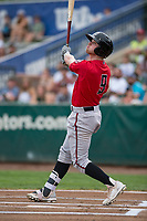 Billings Mustangs designated hitter Cash Case (9) follows through on his swing during a Pioneer League game against the Ogden Raptors at Lindquist Field on August 17, 2018 in Ogden, Utah. The Billings Mustangs defeated the Ogden Raptors by a score of 6-3. (Zachary Lucy/Four Seam Images)