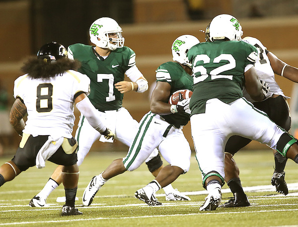 DENTON, TX - AUGUST 31: of the North Texas Mean Green Football vs Idaho Vandals at Apogee Stadium in Denton on August 31, 2013 in Denton, Texas. Photo by Rick Yeatts