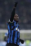Romelu Lukaku of Inter celebrates after scoring with a header to give the side a 3-0 lead during the Coppa Italia match at Giuseppe Meazza, Milan. Picture date: 14th January 2020. Picture credit should read: Jonathan Moscrop/Sportimage