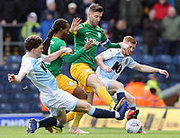 (from left) Blackburn Rovers' Richard Smallwood and Harrison Reed vie for possession with Preston North End's Daniel Johnson and Paul Gallagher <br /> <br /> Photographer Rich Linley/CameraSport<br /> <br /> The EFL Sky Bet Championship - Blackburn Rovers v Preston North End - Saturday 9th March 2019 - Ewood Park - Blackburn<br /> <br /> World Copyright © 2019 CameraSport. All rights reserved. 43 Linden Ave. Countesthorpe. Leicester. England. LE8 5PG - Tel: +44 (0) 116 277 4147 - admin@camerasport.com - www.camerasport.com