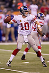 New York Giants quarterback Eli Manning (10) throws a pass during the NFL Super Bowl XLVI football game against the New England Patriots on Sunday, Feb. 5, 2012, in Indianapolis. The Giants won 21-17 (AP Photo/David Stluka)...