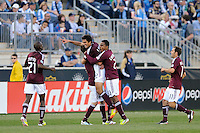 Tony Cascio (32) of the Colorado Rapids celebrates scoring with teammates  during the second half against the Philadelphia Union. The Colorado Rapids defeated the Philadelphia Union 2-1 during a Major League Soccer (MLS) match at PPL Park in Chester, PA, on March 18, 2012.
