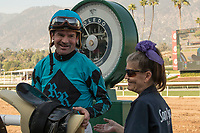 ARCADIA, CA  FEBRUARY 3 : Kent Desormeaux weighs in after winning the Palos Verdes Stakes (Grade ll) on #1 Roy H, on February 3, 2018, at Santa Anita Park in Arcadia, CA.(Photo by Casey Phillips/ Eclipse Sortswire/ Getty Images)