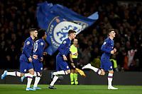 5th November 2019; Stamford Bridge, London, England; UEFA Champions League Football, Chelsea Football Club versus Ajax; Jorginho of Chelsea celebrates his penalty kick goal for 1-1 - Editorial Use