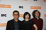 SNL & Portlandia Fred Armisen poses with Carrie Brownstein and Johnathan Krisel - - IFC comedy series Portlandia Season 3 New York Premiere Event on November 10, 2012 at American Museum of Natural History, New York City, New York. It is created, written by and stars Fred Armisen and Carrie Brownstein with executive producer Lorne Michaels. General Hospital Amber Tamblyn is in the production and poses with husband David Cross. (Photo by Sue Coflin/Max Photos)