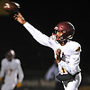 Christian Anderson #1, Cardinal Hayes (Bronx) quarterback, throws a pass for a successful two-point conversion in the third quarter of the NYCHSFL Class AAA semifinals against host St. Anthony's High School on Friday, Nov. 11, 2016.