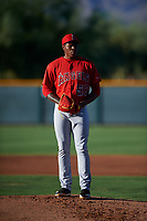 AZL Angels starting pitcher William Holmes (58) during an Arizona League game against the AZL D-backs on July 20, 2019 at Salt River Fields at Talking Stick in Scottsdale, Arizona. The AZL Angels defeated the AZL D-backs 11-4. (Zachary Lucy/Four Seam Images)