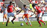 Blackpool's Kelvin Mellor takes on Rotherham United's Richard Wood and Michael Ihiekwe<br /> <br /> Photographer Alex Dodd/CameraSport<br /> <br /> The EFL Sky Bet League One - Rotherham United v Blackpool - Saturday 5th May 2018 - New York Stadium - Rotherham<br /> <br /> World Copyright &copy; 2018 CameraSport. All rights reserved. 43 Linden Ave. Countesthorpe. Leicester. England. LE8 5PG - Tel: +44 (0) 116 277 4147 - admin@camerasport.com - www.camerasport.com