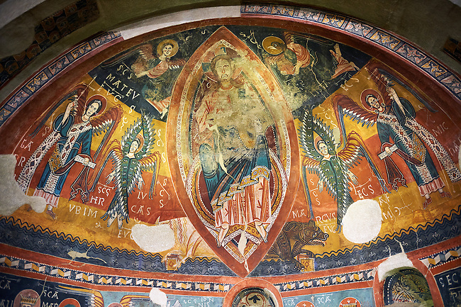 Twelfth century Romanesque frescoes of the Apse of Estaon depicting Christ Pantocrator ( In Majesty) surrounded by Byzantine style angels, from the church of Sant Eulalia d'Estaon, Vall de Cardos, Catalonia, Spain. National Art Museum of Catalonia, Barcelona. MNAC 15969