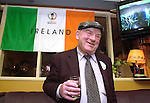 Jackie Healy-Rae enjoys a drink in Pat Spillane's Pub after his  bandwagon with over 200 cars rolled around the Ring of Kerry on Sunday in a final push to re-elect the South Kerry deputy. <br />Picture by Don MacMonagle