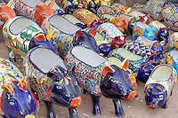 Colorful pig pots for sale. Tubac. Arizona