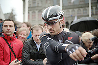Fabian Cancellara (CHE/TrekFactoryRacing) stretching while waiting for the start <br /> <br /> Ronde van Vlaanderen 2014