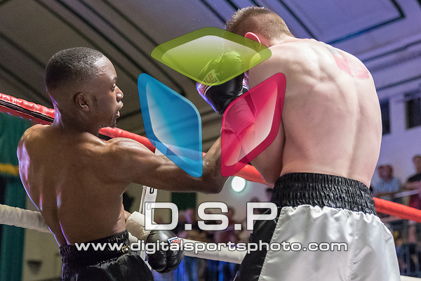 Ryan Walker vs Ricky Leach 4x3 - Super Featherweight Contest During Goodwin Boxing: Full Throttle. Photo by: Simon Downing.<br /> <br /> Saturday 08th July 2017 - York Hall, Bethnal Green, London, United Kingdom.