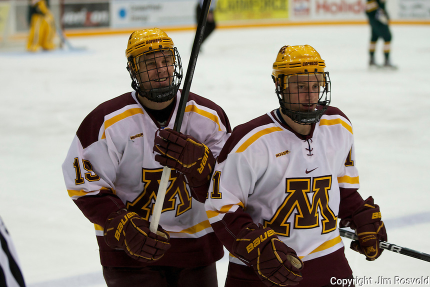 21 Oct 11: Erik Haula (Minnesota - 19), Sam Warning (Minnesota - 11) The University of Minnesota Golden Gophers host the University of Vermont Catamounts in a non-conference matchup at Mariucci Arena in Minneapolis, MN.