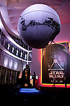 A life size statue of Darth Vader on display at the entrance of the exhibition Star Wars Vision at the Tokyo City View Sky Gallery in Roppongi Hills on April 28, 2015, Tokyo, Japan. The exhibition is divided into six themed areas (Original, Force, Battle, Saga, Galaxy and Droid) located in different halls, and visitors can see models of the battle spaceships, life-size statues of the principal characters and Jedi weapons from the movies. The exhibition also introduces 60 art pieces and 100 movie props. It will open to the public from April 29th to June 28th. (Photo by Lucasfilm/Rodrigo Reyes Marin/AFLO)