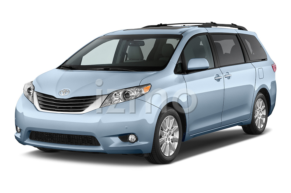 2015 Toyota Sienna XLE V6 8-Passenger 5 Door Mini Van Angular Front stock photos of front three quarter view