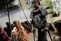 Mogadishu/Somalia 2012 - The walk-in wet feeding center in Mogadishu receives several thousands of people daily. The current lack of stability and security prevents civilians from making a livelihood.
