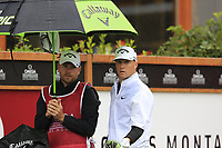 Alex Noren (NOR) on the 1st tee during a wet Saturday's Round 3 of the 2017 Omega European Masters held at Golf Club Crans-Sur-Sierre, Crans Montana, Switzerland. 9th September 2017.<br /> Picture: Eoin Clarke | Golffile<br /> <br /> <br /> All photos usage must carry mandatory copyright credit (&copy; Golffile | Eoin Clarke)