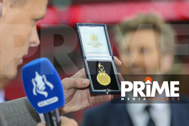 FA Cup winners medal after the FA Cup FINAL match between Arsenal and Chelsea at the Emirates Stadium, London, England on 27 May 2017. Photo by David Horn.