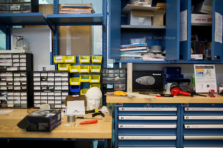 Tools lay on a workstation desk in the Camera Culture group space in MIT's Media Lab at MIT in Cambridge, Massachusetts, USA.