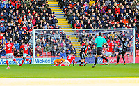 Leeds United's forward Samu Saiz (21) scores goal number  9 of the season during the Sky Bet Championship match between Barnsley and Leeds United at Oakwell, Barnsley, England on 25 November 2017. Photo by Stephen Buckley / PRiME Media Images.