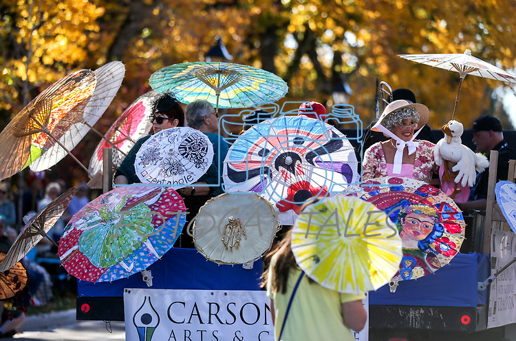 The Carson City Arts and Culture Coalition float moves down Carson Street during the 79th Nevada Day parade in Carson City, Nev., on Saturday, Oct. 28, 2017. <br /> Photo by Cathleen Allison/Nevada Momentum