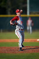 Indiana Hoosiers relief pitcher Sullivan Stadler (24) delivers a pitch during a game against the Illinois State Redbirds on March 4, 2016 at North Charlotte Regional Park in Port Charlotte, Florida.  Indiana defeated Illinois State 14-1.  (Mike Janes/Four Seam Images)