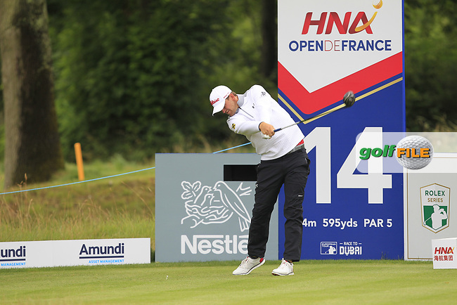 Bernd Wiesberger (AUT) on the 14th tee during Round 3 of the HNA Open De France  at The Golf National on Saturday 1st July 2017.<br /> Photo: Golffile / Thos Caffrey.<br /> <br /> All photo usage must carry mandatory copyright credit      (&copy; Golffile | Thos Caffrey)