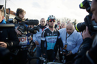 Mark Cavendish (GBR/Ettix-QuickStep) awaits his teammates to celebrate his victory while officials urge him to get to the ceremonial holding zone <br /> <br /> 67th Kuurne-Brussels-Kuurne 2015