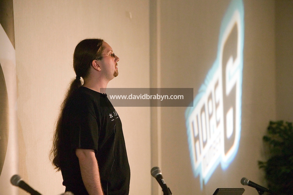 Encryption specialist Seth Hardy gives a talk during the 6th edition of HOPE, an annual hackers' convention, spends time on his laptop, July 22nd 2006, New York City, USA.