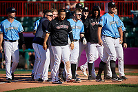 Erie SeaWolves Kody Eaves (22) is congratulated by teammates, including Kade Scivicque, Isaac Paredes, Josh Lester, Matt Manning, Casey Mize, Anthony Castro, and Zac Houston, after hitting a walk off home run during an Eastern League game against the Akron RubberDucks on June 2, 2019 at UPMC Park in Erie, Pennsylvania.  Erie defeated Akron 8-5 in eleven innings in the second game of a doubleheader.  (Mike Janes/Four Seam Images)