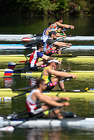 Lucerne, SWITZERLAND<br /> <br /> USA M1X. Kenneth JURKOWSKI. at the start of his heat at the 2016 European Olympic Qualifying Regatta, Lake Rotsee.<br /> <br /> Sunday  22/05/2016<br /> <br /> [Mandatory Credit; Peter SPURRIER/Intersport-images]