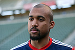 06 December 2014: New England's Teal Bunbury. Major League Soccer held a training sessions at the StubHub Center in Carson, California one day before the Los Angeles Galaxy hosted the New England Revolution in MLS Cup 2014.