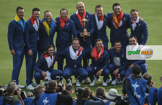 Europe wins the Ryder Cup, Le Golf National, Île-de-France, France. 30/09/2018.<br /> Picture David Lloyd / Golffile.ie<br /> <br /> All photo usage must carry mandatory copyright credit (© Golffile | David Lloyd)