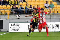 Wellington Phoenix&rsquo; David Williams and Melbourne City&rsquo;s Scott Jamieson in action during the A League - Wellington Phoenix v Melbourne City FC at Westpac Stadium, Wellington, New Zealand on Saturday 26 January 2019. <br /> Photo by Masanori Udagawa. <br /> www.photowellington.photoshelter.com